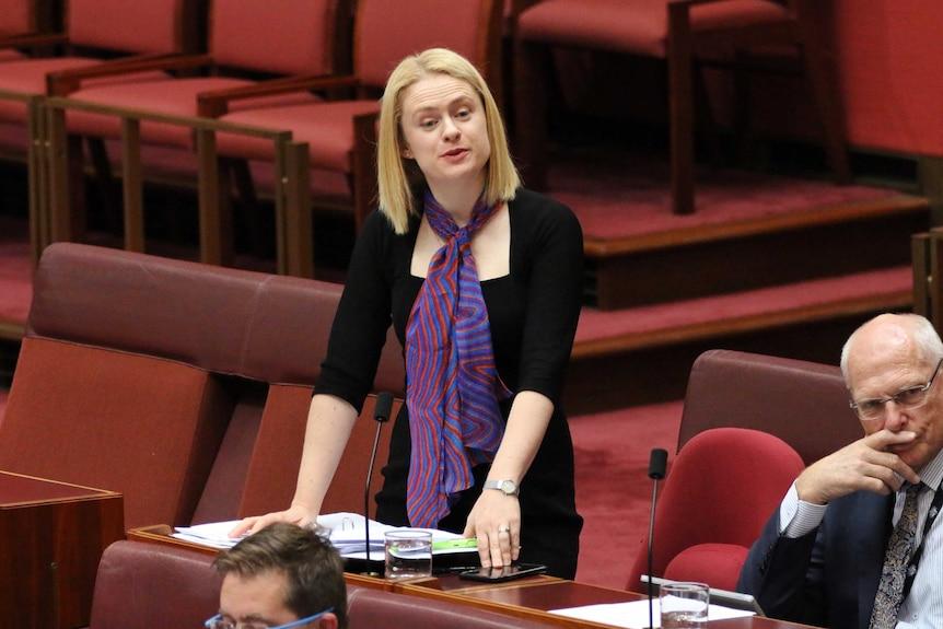 Amanda Stoker leans on her desk as she speaks in the Senate