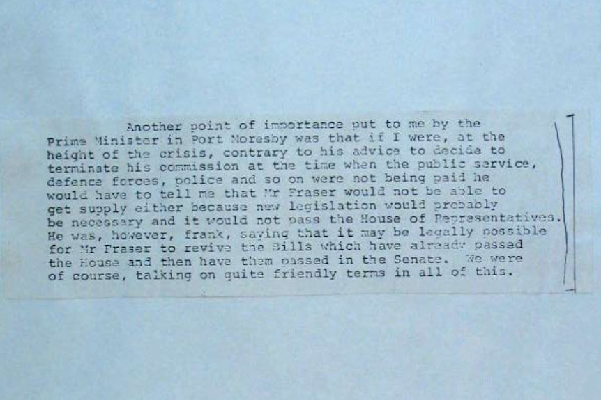 Extract of a letter from Sir John Kerr dated 20 September, 1975