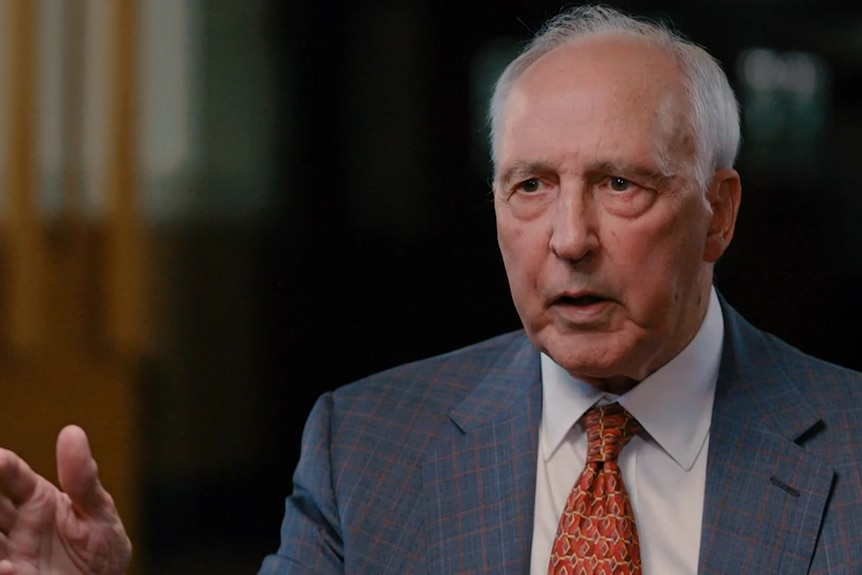 Paul Keating speaking to an interviewer.
