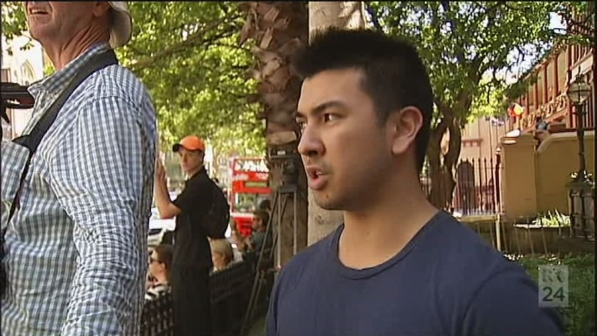 Cafe worker Bruno says he tried to enter the Lindt cafe to go to work but the door was locked