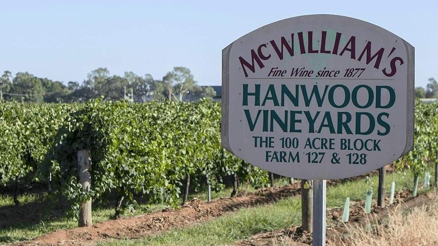 McWilliams Wines Hanwood Estate sign in front of vineyards
