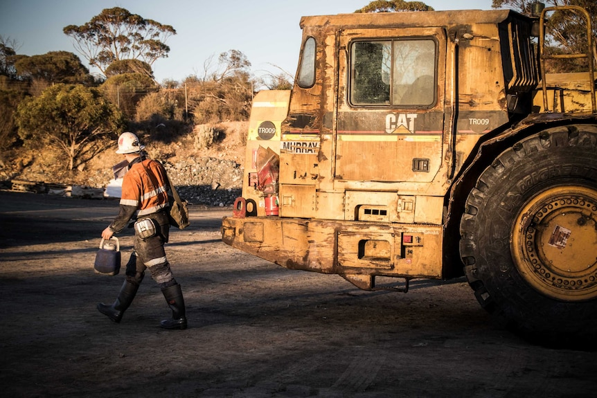 Mine worker with trucks in the background.