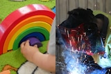 A composite image of a young child playing with a rainbow toy and someone welding with a welding mask on and sparks flying