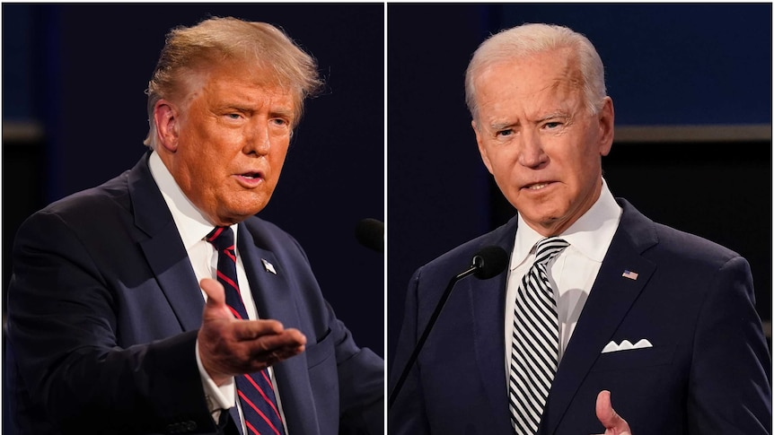 This combination of Sept. 29, 2020, file photos shows President Donald Trump, left, and former Vice President Joe Biden