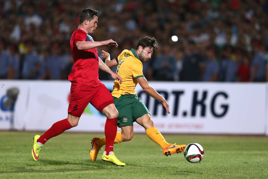Tommy Oar scores for the Socceroos against Kyrgyzstan