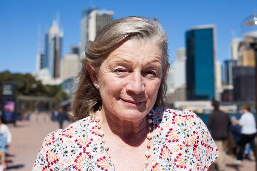 Alison Lester, author and illustrator, stands in Circular Quay