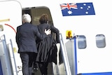 Prime Minister Kevin Rudd and his wife Therese board a plane