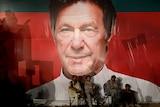 Workers sit in front of a huge Imran Khan billboard.