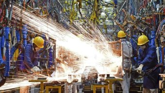 Sparks fly at the Nissan car plant in Zhengzhou, Henan province, China.