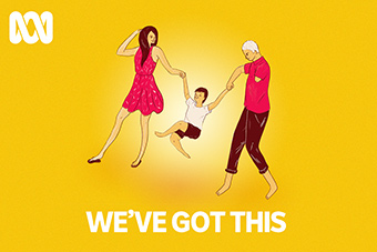 Yellow illustration with a mum and dad with a disability swinging their child with title: We've got this
