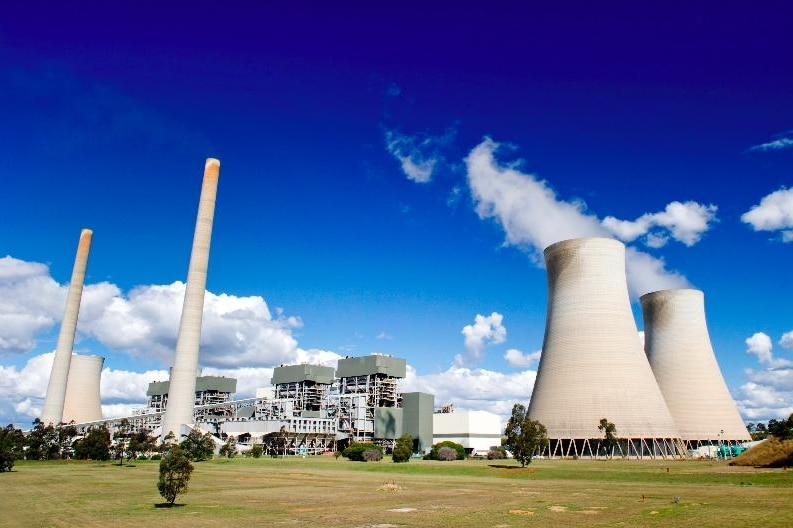 A power station with large cooling towers looms in front of a blue sky.