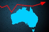 A blue graphic of Australia with a red arrow going upwards around it.