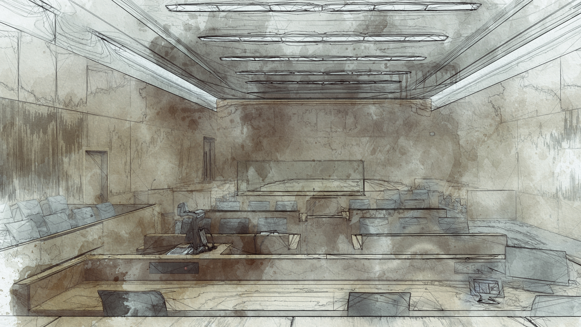 Generic watercolour image of a courtroom.