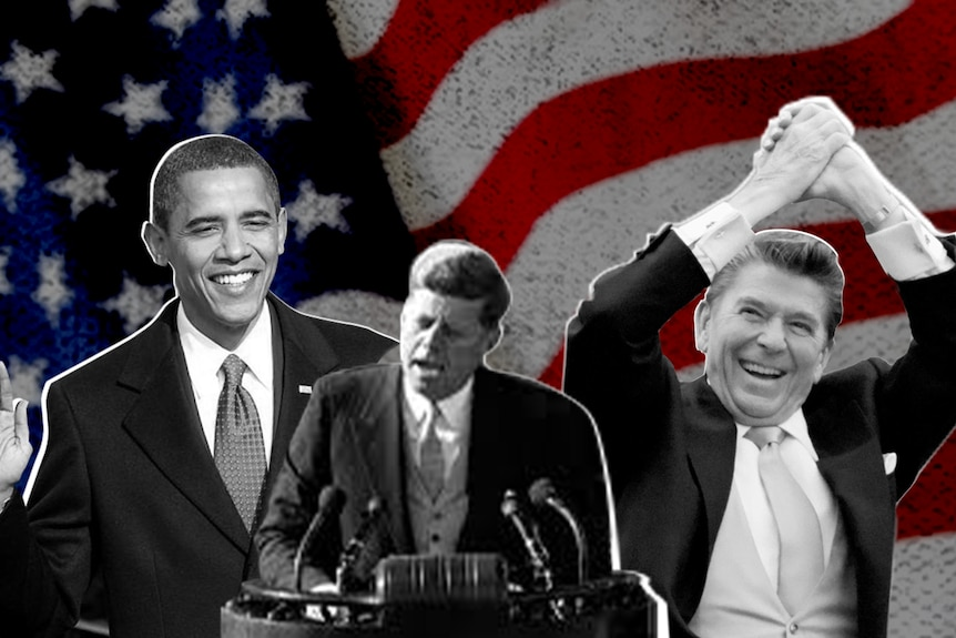 Black and white stills of Barack Obama, John F. Kennedy and Ronald Reagan sit in front of a US flag.