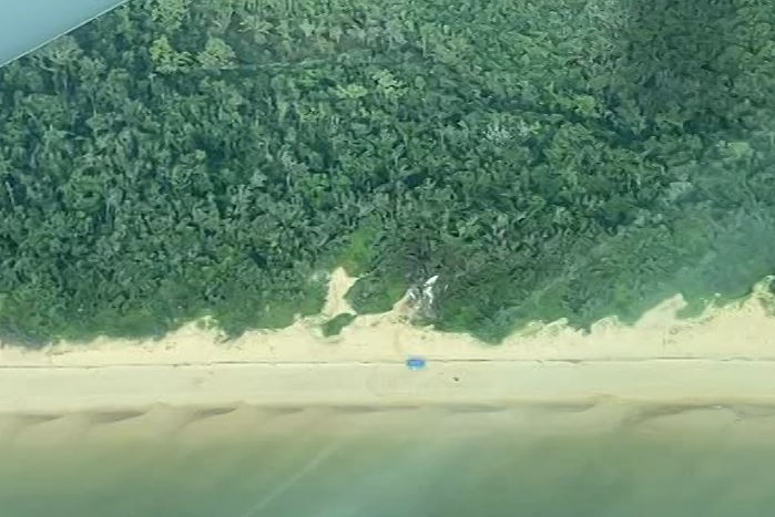A white wreckage at the start of a forest by the beach, as seen from the window of a plane flying overhead