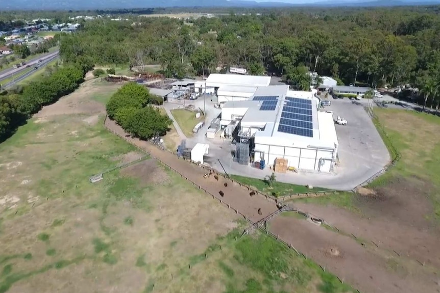 Aerial of Meramist Abattoir surrounded by open paddock