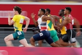 Men competing in the 100m sprint at the Olympics