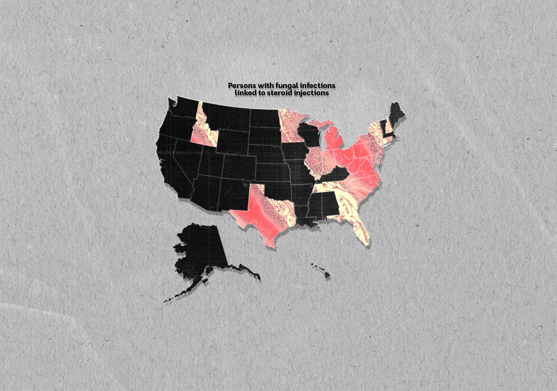 Pink bacteria image overlaid on various US states on black vector US map on grey paper background.