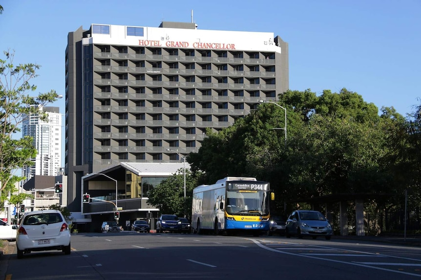 Hotel Grand Chancellor in Brisbane from a distance across the road.
