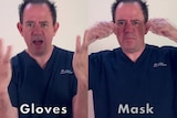 Two side-by-side images of Jonathan Papson wearing navy blue scrubs and doing different dance moves.