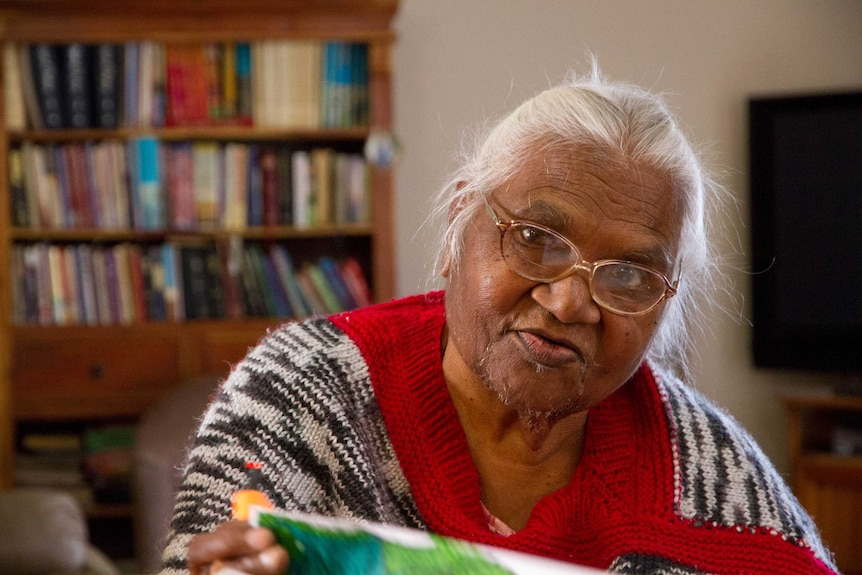 Edna Sceghi in her home in Kalgoorlie, she's advocate for her language and local Aboriginal leader.