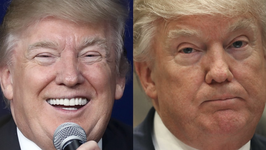 A composite image comprising two portraits of U.S. President Donald Trump: one of him smiling and one of him looking perturbed.