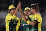 Australia celebrates a wicket against England