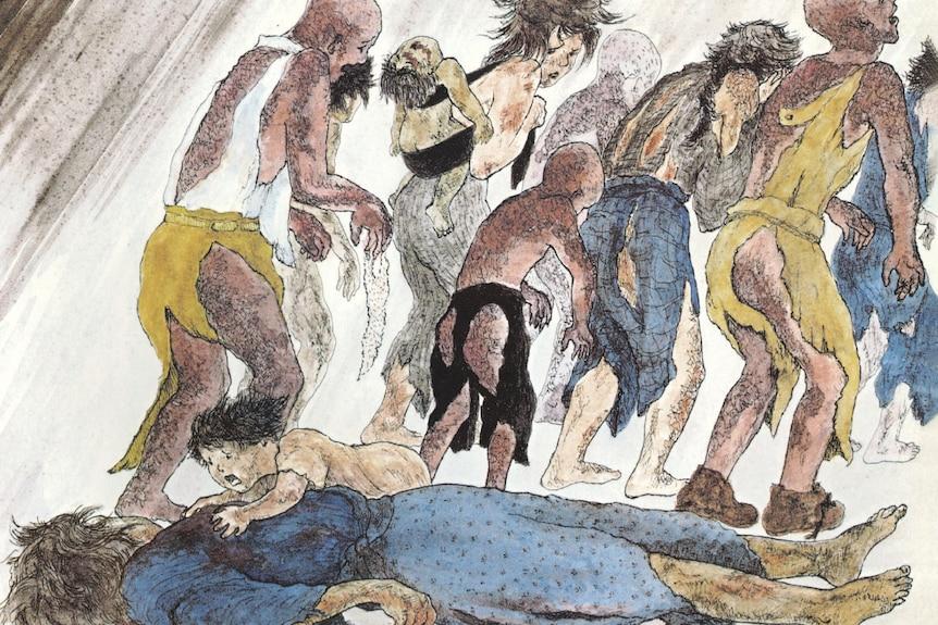 A drawing of Hiroshima atomic bomb victims.