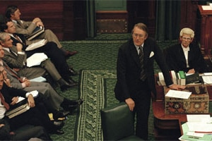 Then Prime Minister Malcolm Fraser speaks at the Dispatch Boxes during Question Time in Parliament House, Canberra in 1979. (...