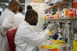 Two scientists in white coats sit at a lab bench doing an experiment