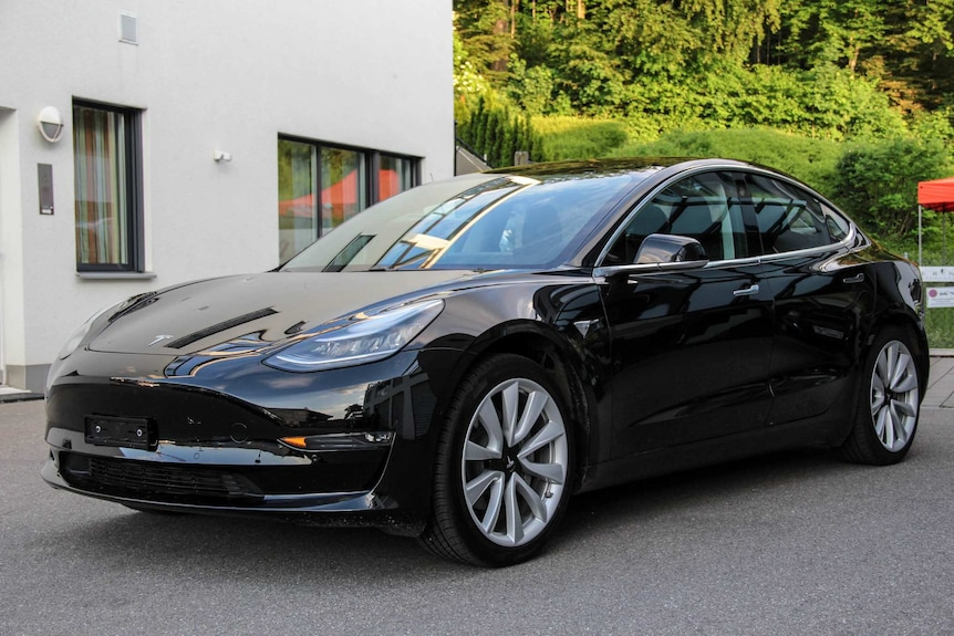 A black Tesla Model 3 sedan is shown with large five-spoke alloy wheels and shrubbery in the distance.