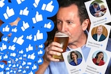 A photo of Mark McGowan drinking a beer with Facebook 'like' graphics superimposed on the image.