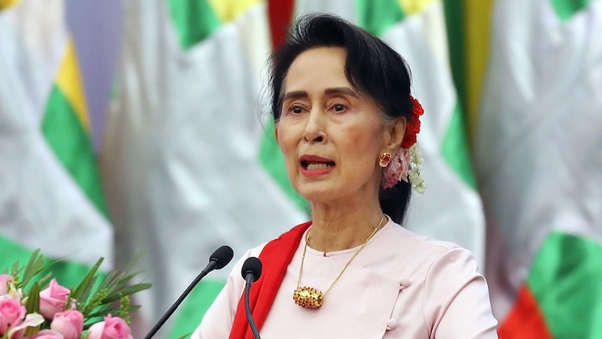 Myanmar's State CounsellorAungSanSuu Kyi delivers an opening speech.