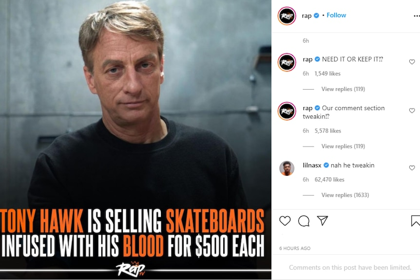 A screenshot of an Instagram post that has Tony Hawk pictured