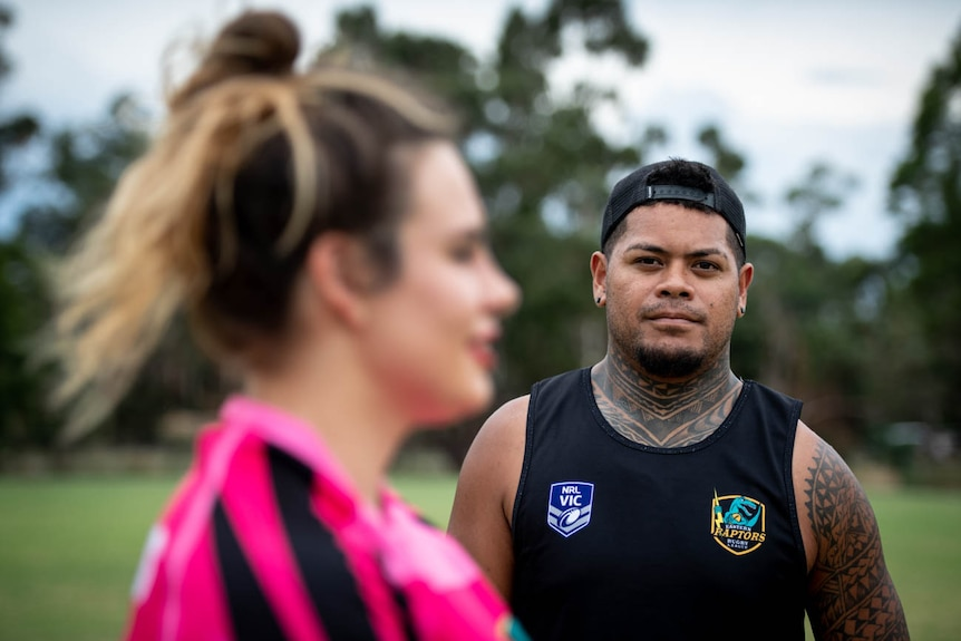 Camille Chamodon (L) and Halatau Tuima rugby League players for the Eastern Raptors pose for a photograph in Boronia Victoria.