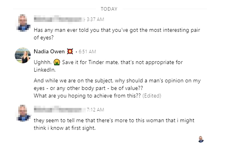 A man sends sexually suggestive messages on LinkedIn and Nadia saying why is this inappropriate