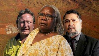 FMG chairman Andrew Forrest, Pansy Sambo and Yindjibarndi Aboriginal Corporation chief Michael Woodley.