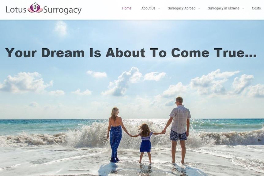 Webpage of the Lotus Surrogacy agency
