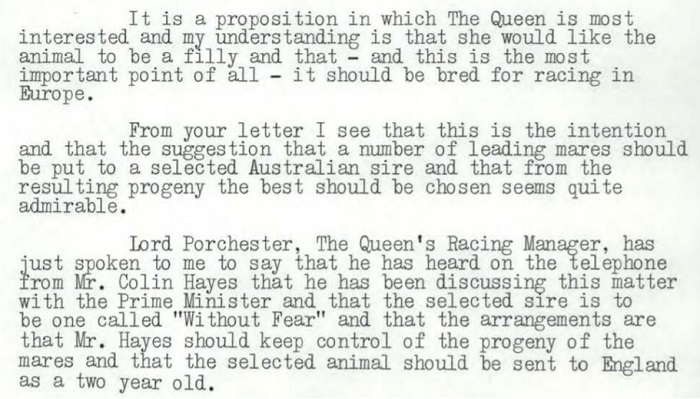 The Queen was offered a horse, and came back with a very specific list of requirements.