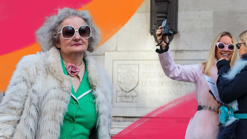 Older woman in big sunglasses with two younger women behind taking a selfie to depict travelling with older people.