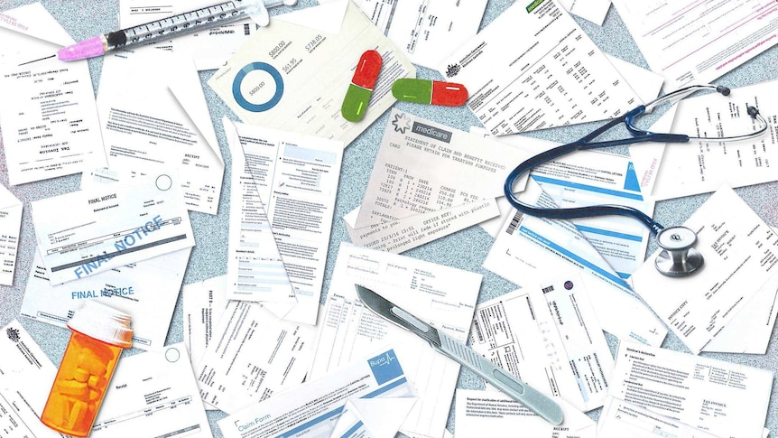 An assortment of medical bills laid out.