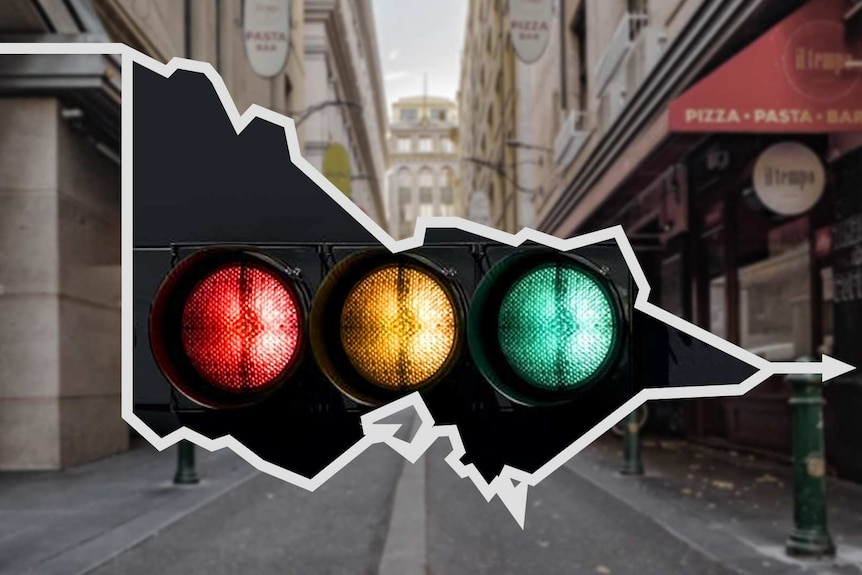 A graphic with traffic lights superimposed on a map of Victoria with Degraves Street in the background.