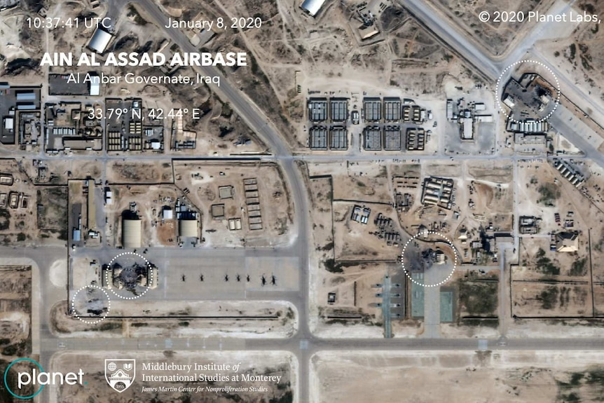 An aerial view showing the Al Asad airbase damage.