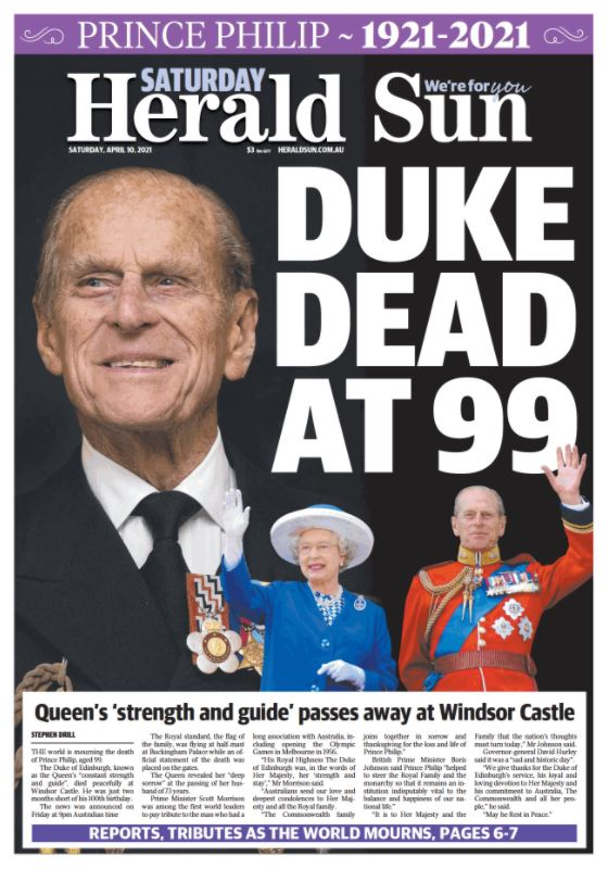 The front page of the Herald Sun newspaper the day after the death of Prince Philip.