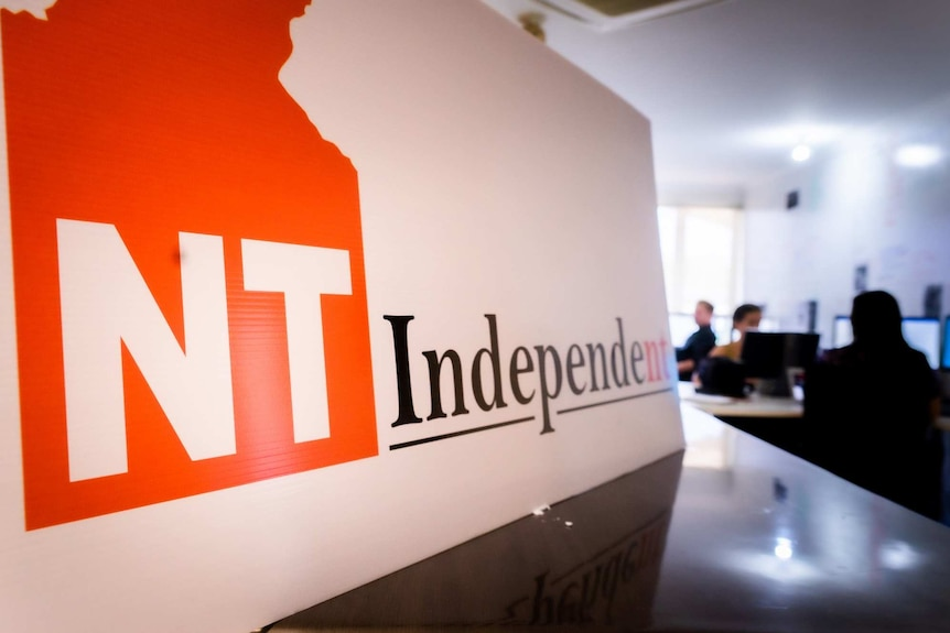 A sign with 'NT Independent' written on it at the front of the publication's newsroom.