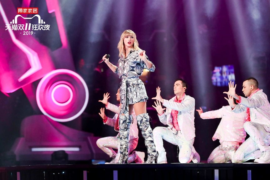 Taylor Swift performs at the 11.11 Countdown Gala.