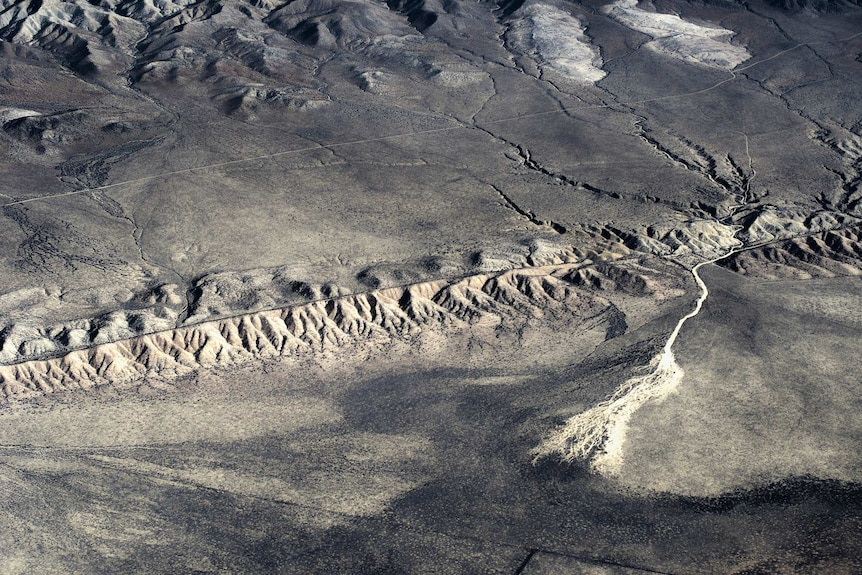 An aerial view of the San Andreas fault from near Taft, California