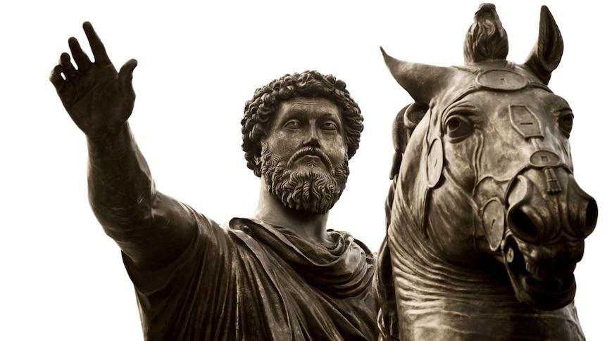 Equestrian statue of the emperor Marcus Aurelius in Capitoline Hill in Italy.