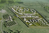 A computer generated image of the Grafton prison, including buildings and surrounds.