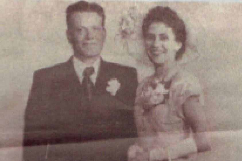 An old photo of 'Gunner' Curley and her husband on their wedding day.